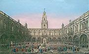 ANTIQUE PRINT: THE INSIDE VIEW OF THE ROYAL EXCHANGE AT LONDON = VUE DU DEDANS DE LA BOURSE ROYALE A LONDRES.