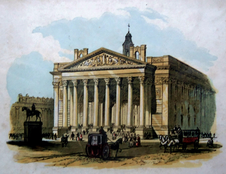 ANTIQUE PRINT: ROYAL EXCHANGE = BOURSE ROYALE.