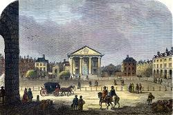 ANTIQUE PRINT: COVENT GARDEN IN 1660.