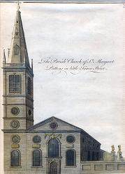 ANTIQUE PRINT: THE PARISH CHURCH OF ST. MARGARET PATTENS IN LITTLE TOWER STREEET.