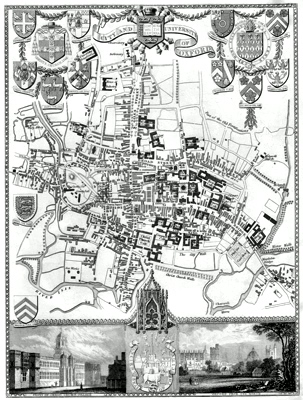 ANTIQUE MAP: CITY AND UNIVERSITY OF OXFORD.