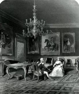 ANTIQUE PRINT: THE ROYAL CLOSET. ST. JAMES'S. HER MAJESTY GIVING AUDIENCE TO AN AMBASSADOR.