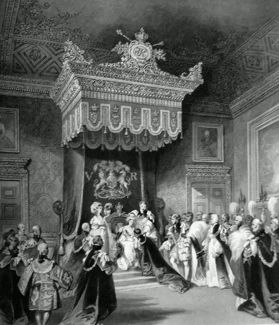 ANTIQUE PRINT: THE THRONE. ST. JAMES'S PALACE. INVESTITURE OF A KNIGHT OF THE GARTER.