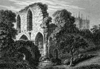 ANTIQUE PRINT: RUINS EPISCOPAL PALACE, LINCOLN.