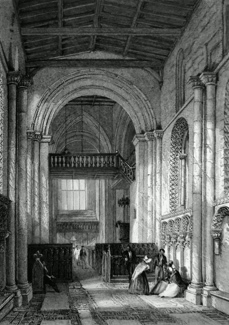 ANTIQUE PRINT: INTERIOR OF STOW CHURCH, LINCOLNSHIRE.