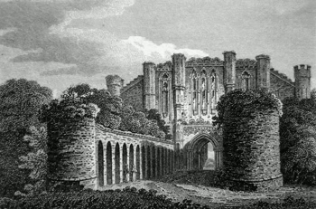 ANTIQUE PRINT: WEST FRONT OF THORNTON ABBEY, LINCOLNSHIRE.