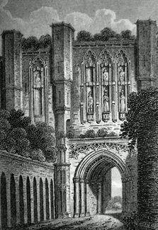 ANTIQUE PRINT: WEST GATE OF THORNTON ABBEY, LINCOLNSHIRE.