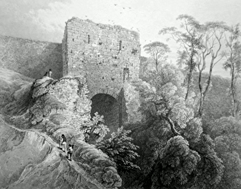 ANTIQUE PRINT: PART OF THE WESTERN SIDE OF THE WALLS. – CASTLE, LINCOLN.