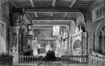 ANTIQUE PRINT: INTERIOR OF BOTTESFORD CHURCH, LEICESTERSHIRE. MONUMENTS TO THE EARLS OF RUTLAND.
