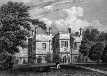 ANTIQUE PRINT: TISSINGTON HALL, DERBYSHIRE.
