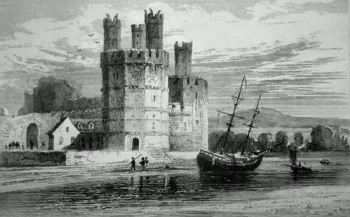 ANTIQUE PRINT: CAERNARVON CASTLE, EAGLE'S TOWER. NORTH WALES.
