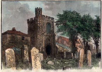 ANTIQUE PRINT: ANCIENT BELL TOWER, BARKING ABBEY.