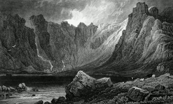 ANTIQUE PRINT: LLYN IDWAL, IN THE PASS OF NANT FRANGON. CAERNARVONSHIRE.