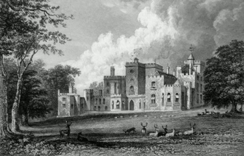 ANTIQUE PRINT: POWDERHAM-CASTLE, DEVONSHIRE. THE SEAT OF VISCOUNT COURTENAY, TO WHOM THIS PLATE IS WITH GREAT RESPECT DEDICATED, BY THE PUBLISHERS.