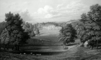 ANTIQUE PRINT: ABINGER HALL, SEAT OF THE RIGHT HON. LORD ABINGER, BY WHOM THIS PLATE WAS PRESENTED.