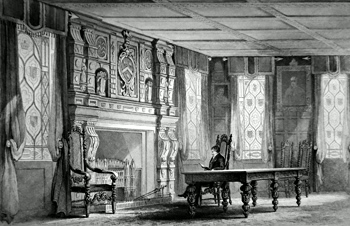 ANTIQUE PRINT: ANCIENT DINING ROOM, SHALFORD HOUSE. PRESENTED BY SIR HENRY EDMUND AUSTEN.