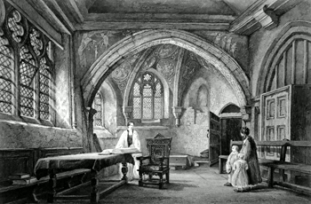 ANTIQUE PRINT: CHAPEL OF ST. JOHN THE BAPTIST, ST. MARY'S CHURCH GUILDFORD.