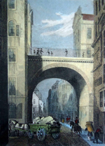 ANTIQUE PRINT: [EDINBURGH] SOUTH BRIDGE, FROM THE COWGATE.