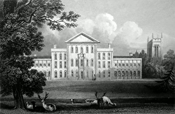 Antique print of Aynho Park House near Brackley
