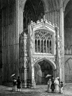 ANTIQUE PRINT: PETERBOROUGH CATHEDRAL. VIEW OF THE PORCH WEST END.