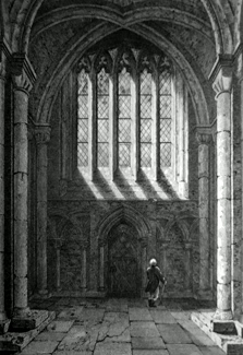 ANTIQUE PRINT: PETERBOROUGH CATHEDRAL, (PART OF THE SOUTH AILE, FROM THE NAVE,) NORTHAMPTONSHIRE.
