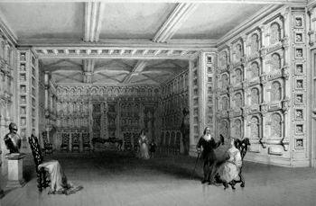 ANTIQUE PRINT: INTERIOR OF A ROOM AT MALAHIDE CASTLE. (COUNTY WICKLOW.)