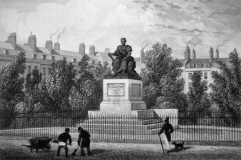 ANTIQUE PRINT: BLOOMSBURY SQUARE, AND STATUE OF FOX.
