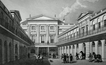 ANTIQUE PRINT: SOUTH EAST VIEW OF THE LONDON HORSE & CARRIAGE REPOSITORY, GRAY'S INN ROAD.