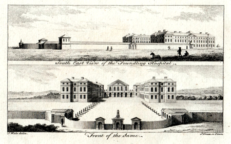 ANTIQUE PRINT: SOUTH EAST VIEW OF THE FOUNDLING HOSPITAL / FRONT OF THE SAME.