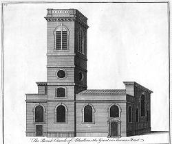 ANTIQUE PRINT: THE PARISH CHURCH OF ALHALLOWS THE GREAT IN THAMES STREET.