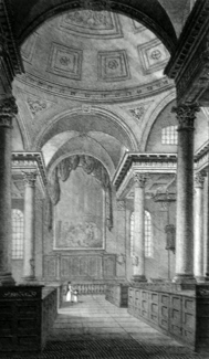 ANTIQUE PRINT: INTERIOR OF ST. STEPHEN'S WALBROOK.