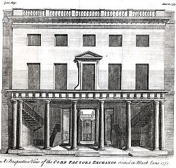 ANTIQUE PRINT: A PERSPECTIVE VIEW OF THE CORN FACTORS EXCHANGE, ERECTED IN  MARK LANE 1751.