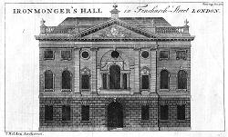 ANTIQUE PRINT: IRONMONGER'S HALL IN FENCHURCH STREET LONDON. T. HOLDEN ARCHITECT.