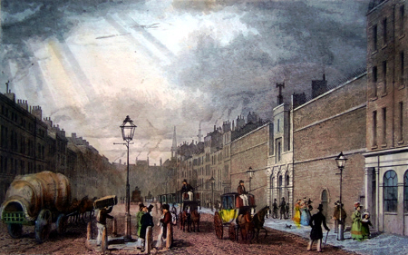 ANTIQUE PRINT: FARRINGDON ST. AND THE FLEET PRISON.