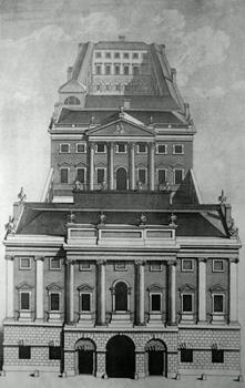 ANTIQUE PRINT: A PERSPECTIVE VIEW OF THE BANK OF ENGLAND.