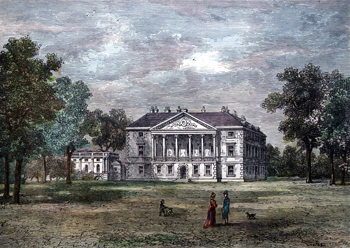 ANTIQUE PRINT: GUNNERSBURY HOUSE. (FROM A WATER-COLOUR DRAWING BY CHATELAIN).