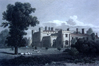 ANTIQUE PRINT: TWYFORD ABBEY, MIDDLESEX. THE SEAT OF THOMAS WILLAN ESQR.
