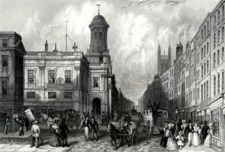 ANTIQUE PRINT: THE LATE ROYAL EXCHANGE AND CORNHILL.