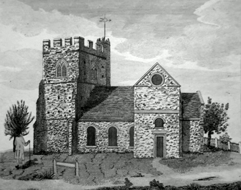 ANTIQUE PRINT: THE SOUTH VIEW OF EDGWARE CHURCH IN THE COUNTY OF MIDX.