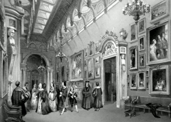 ANTIQUE PRINT: THE PICTURE GALLERY, BUCKINGHAM PALACE. DUCHESS OF CAMBRIDGE (AS ANNE OF BRETAGNE) AND HER COURT, IN HER MAJESTY'S BAL COSTUMÉ OF QUEEN PHILIPPA.