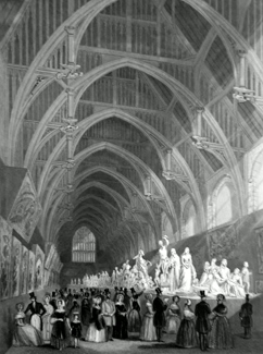 ANTIQUE PRINT: PUBLIC EXHIBITION OF FRESCOES & SCULPTURE IN WESTMINSTER HALL.
