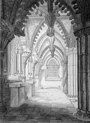 ANTIQUE PRINT: ROSLYN CHAPEL. (VIEW OF THE ALTARS &C. AT THE EAST END. LOOKING NORTH).