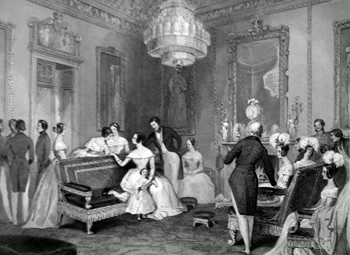 ANTIQUE PRINT: BUCKINGHAM PALACE. THE YELLOW DRAWING ROOM.