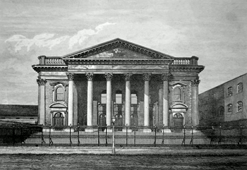 ANTIQUE PRINT: FRONT OF THE METROPOLITAN TABERNACLE.
