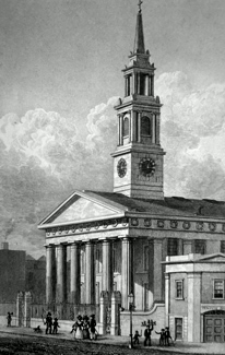 ANTIQUE PRINT: NEW CHURCH, WATERLOO ROAD.