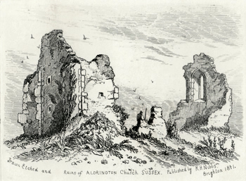 ANTIQUE PRINT: RUINS OF ALDRINGTON CHURCH SUSSEX.