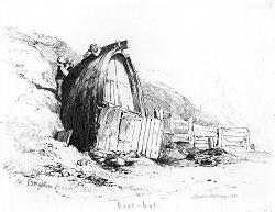 ANTIQUE PRINT: BOAT-HUT. ON BRIGHTON BEACH.