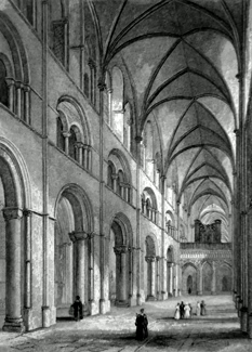ANTIQUE PRINT: CHICHESTER CATHEDRAL. NAVE LOOKING EAST.