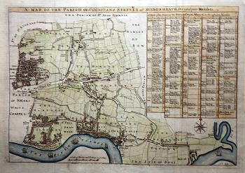 ANTIQUE MAP : [TOWER HAMLETS] A MAP OF THE PARISH OF ST DUNSTANS STEPNEY ALS. STEBUNHEATH DIVIDED INTO HAMLETS.