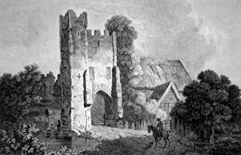 Antique print of of Mettingham Castle, near Beccles